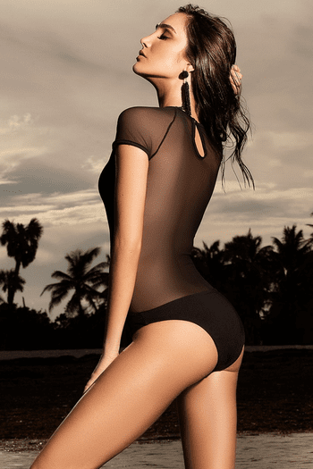 Black Cap Sleeve Monokini