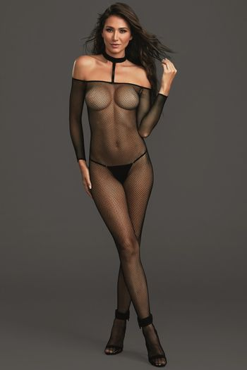 Black Collared Fishnet Bodystocking