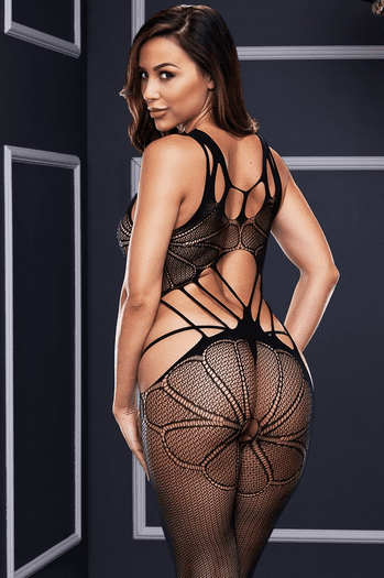Black Criss Cross Cut Out Bodystocking