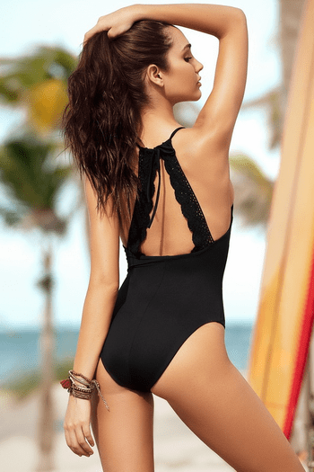Black Crochet Back Monokini