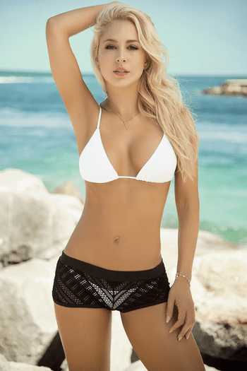 Black Crochet Beach Shorts