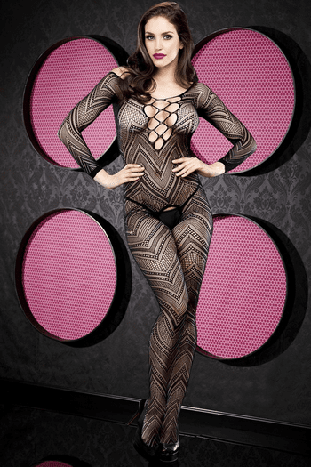 Black Crochet Crotchless Bodystocking