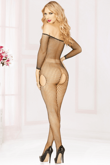 Black Crotchless Fishnet Bodystocking