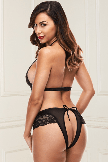 Black Cut Out Backless Teddy