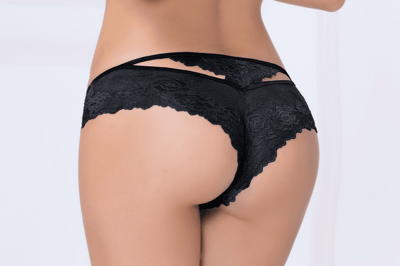 Black Cut-Out Lace Thong