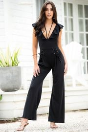 Black Deep Plunge Jumpsuit