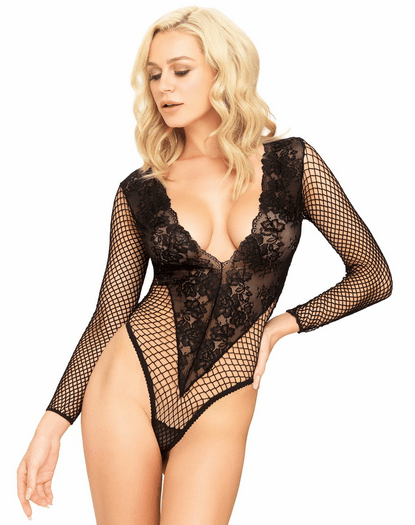 Black Deep V Floral Net Thong Back Teddy