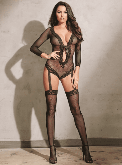 Black Diamond Net Teddy Bodystocking