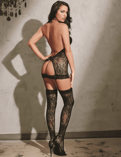 Black Diamond Peek A Boo Open Back Bodystocking
