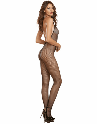 Black Diamond Seamless Halter Bodystocking