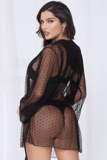 Black Dot Mesh Hooded Robe