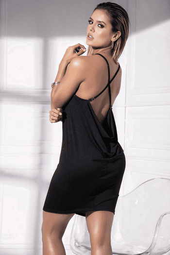 Black Drape Back Dress
