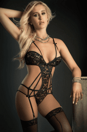 Black Embroidered Lace Garter Teddy