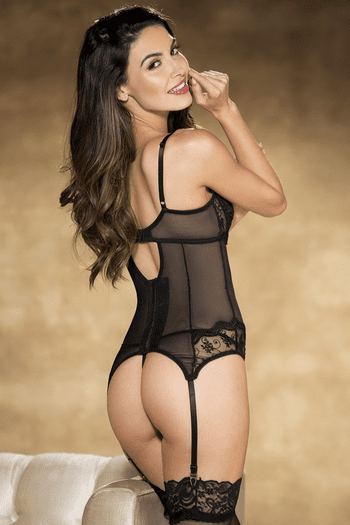 Black Embroidery Shelf Cup Bustier
