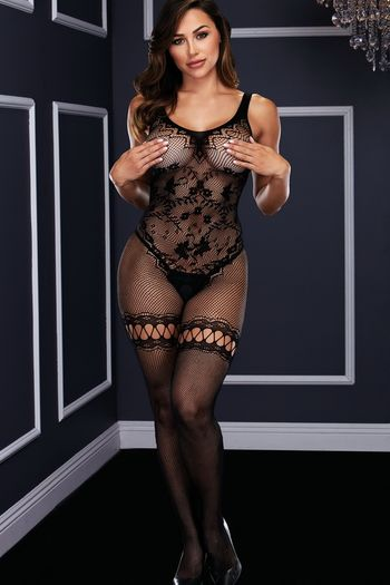 Black Fishnet Faux Gartered Bodystocking