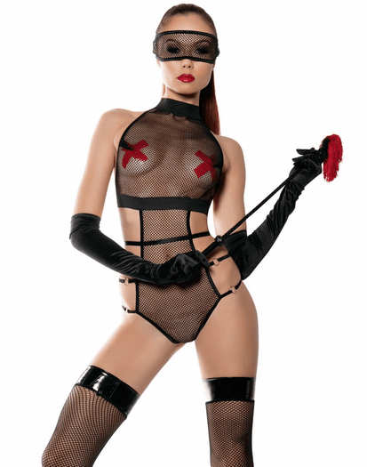 Black Fishnet Fetish Teddy