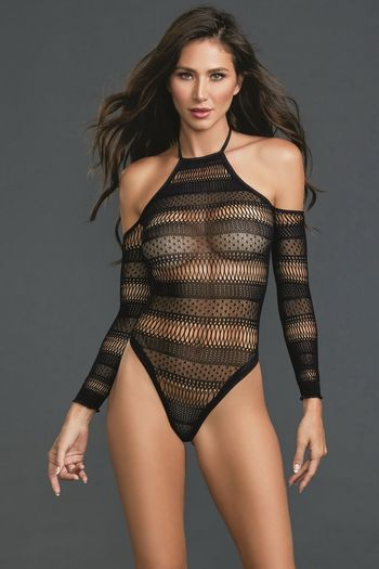 Black Fishnet Halter Teddy