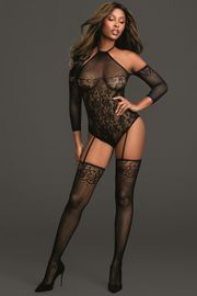 Black Fishnet Halter Teddy Bodystocking