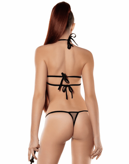 Black Fishnet Mesh Thong Back Teddy