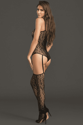 Black Fishnet Teddy Bodystocking