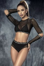 Black Fishnet Top, Bra & Panty Set