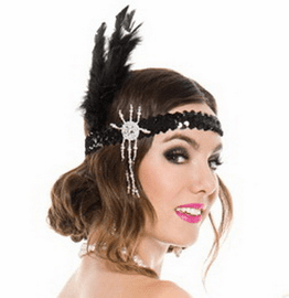 Black Flapper Headpiece