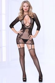 Black Floral Bodystocking Dress