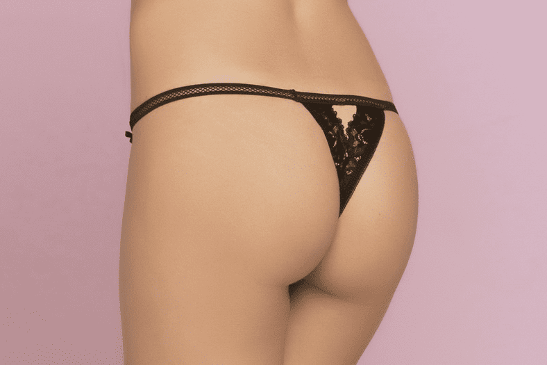 Black Floral Lace Crotchless Thong