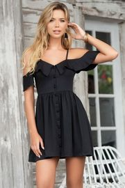 Black Front Button Summer Dress