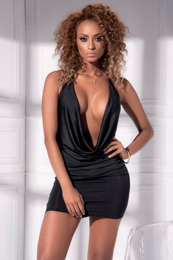 Black Front Drape Little Black Dress