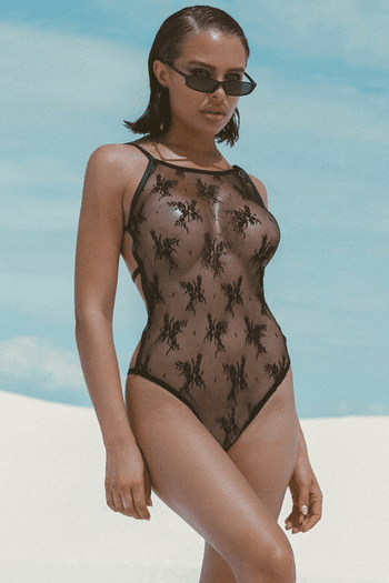 Black Full Front Cover Lace Teddy