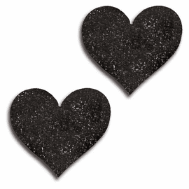 Black Glitter Heart Pasties