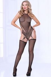 Black Halter Fishnet Bodystocking