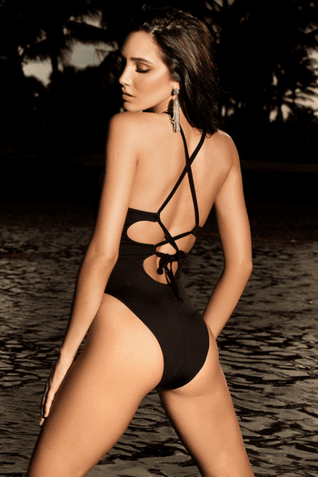 Black High Neck Monokini