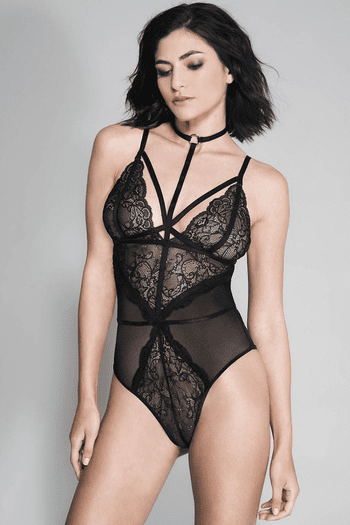 Black High Strap Neck Lace & Sheer Teddy