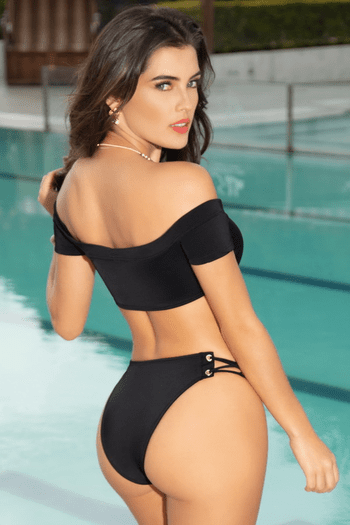 Black High Waisted Cheeky Bikini Bottom