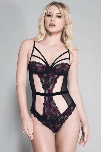 Black & Hot Pink Flower Strappy & Cutout Teddy