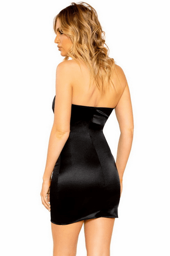 Black Keyhole Stretch Satin Mini Dress
