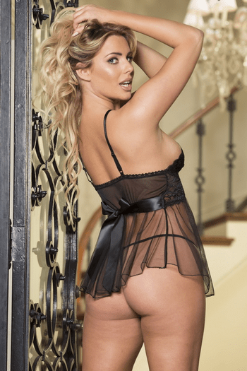 Black Lace and Mesh Babydoll