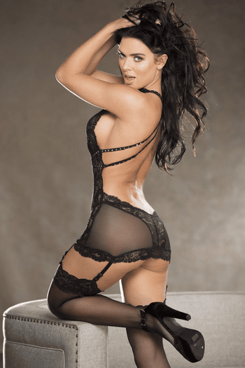 Black Lace and Mesh Gartered Chemise