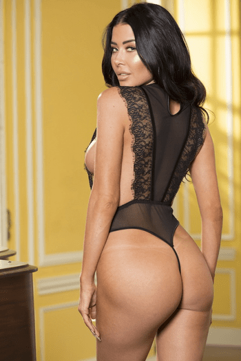 Black Lace and Mesh Teddy
