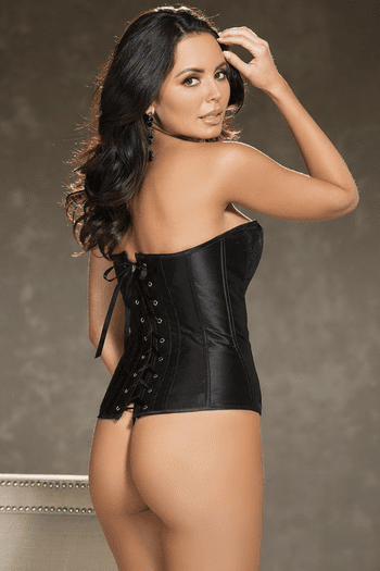 Black Lace and Satin Overlay Corset