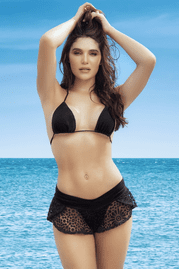Black Lace Cover-Up Beach Shorts