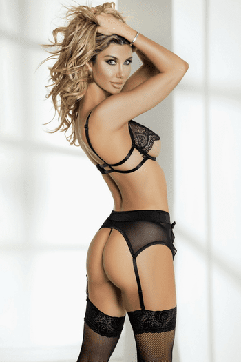 Black Lace Bra, Garter Skirt, Thong & Stocking Set