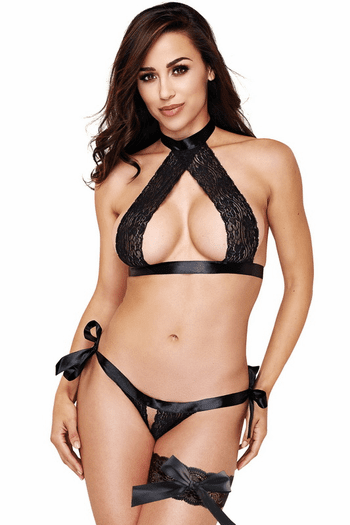 Black Lace Bra, Panty & Garter Set