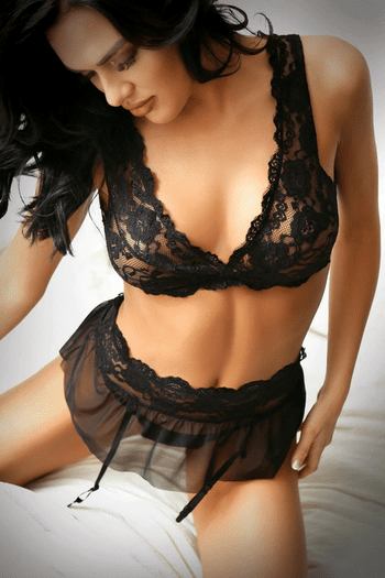 Black Lace Bra, Skirt & Panty set