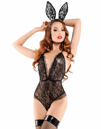 Black Lace Bunny Time Romper & Ears Set