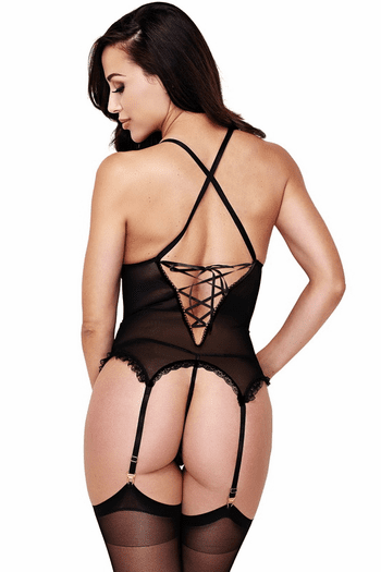 Black Lace Bustier & Panty Set
