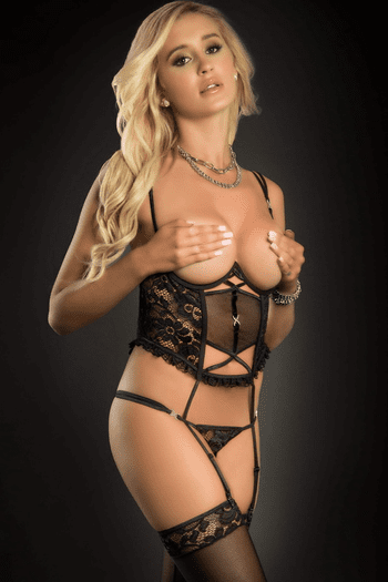 Black Lace Corset Cupless & Crotchless Teddy