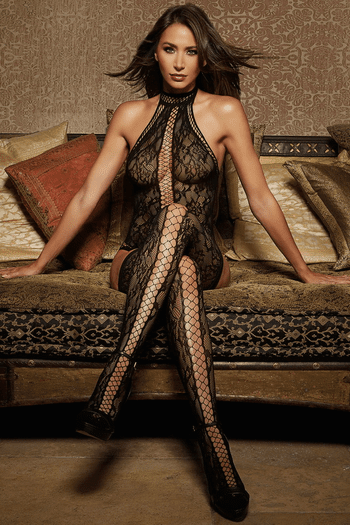 Black Lace Criss-Cross Teddy Bodystocking